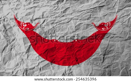 Flag of Easter Rapa Nui, CHILE with old texture. Vector illustration - stock vector
