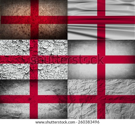 Flag of England with old texture. Vector illustration - stock vector