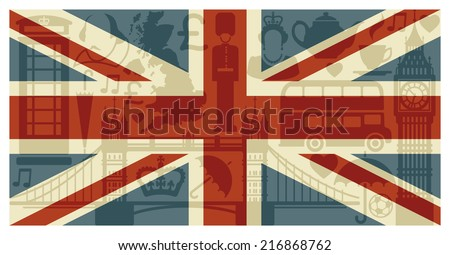 Flag of England with symbols of the United Kingdom and London - stock vector