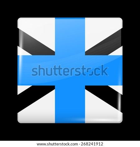 Flag of Estonia. Glossy Icons Square Shape. This is File from the Collection European Flags - stock vector