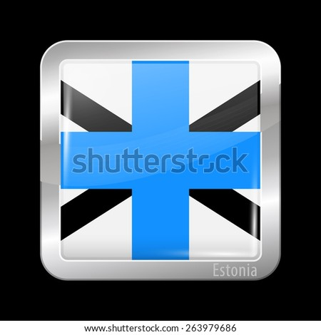 Flag of Estonia. Metal Icons Square Shape. This is File from the Collection European Flags - stock vector