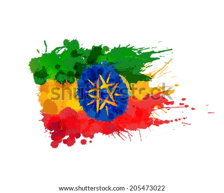 Flag of Ethiopia made of colorful splashes - stock vector