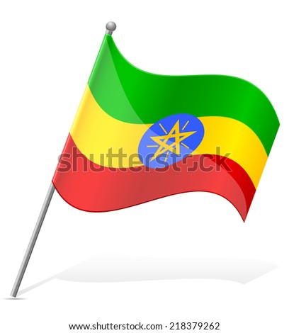 flag of Ethiopia vector illustration isolated on white background - stock vector