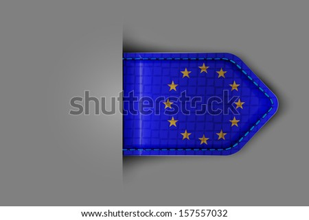 Flag of Europe in the form of a glossy textured label or bookmark. Vector illustration.