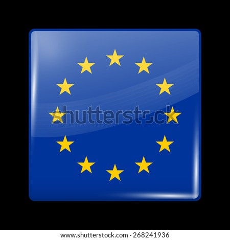 Flag of European Union. Glossy Icons Square Shape. This is File from the Collection European Flags - stock vector