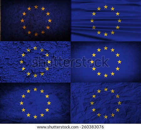 Flag of European Union with old texture. Vector illustration - stock vector