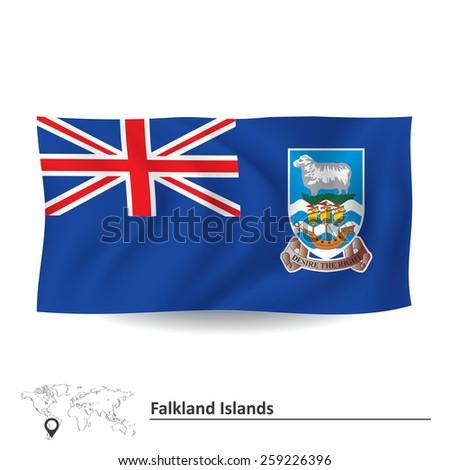 Flag of Falkland Islands - vector illustration - stock vector