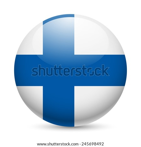Flag of Finland as round glossy icon. Button with Finland flag - stock vector