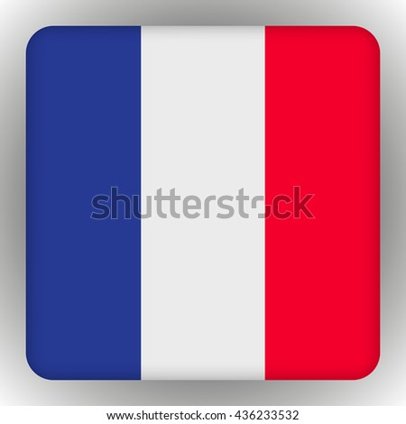 Flag of France. Icons Square Shape. vector illustration