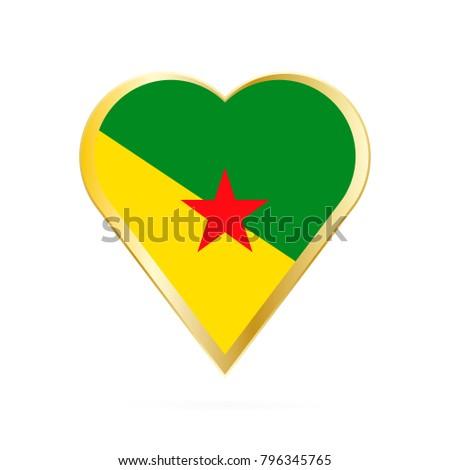 Flag French Guiana Shape Heart Symbol Stock Vector 796345765