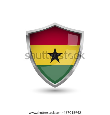 Flag of Ghana. Flag on the metal shield with glare.