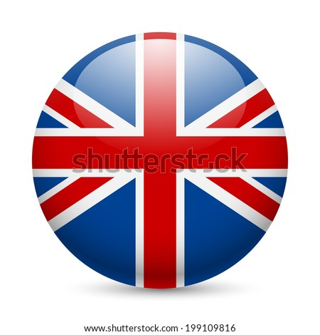 Flag of Great Britain as round glossy icon. Button with British flag - stock vector