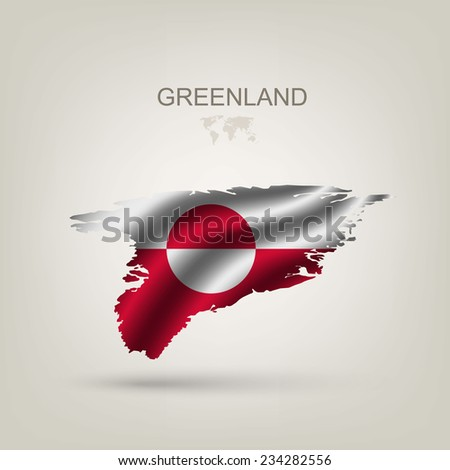 Flag of Greenland as a country with a shadow - stock vector