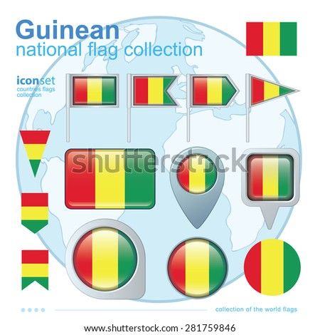 Flag of Guinean, icon collection, vector illustration
