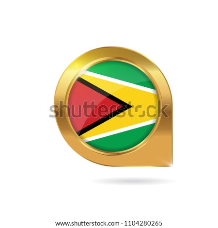 Flag Guyana Location Map Pin Pointer Stock Vector 2018 1104280265