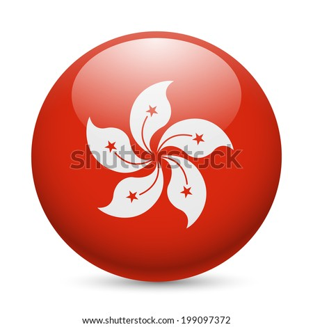 Flag of Hong Kong as round glossy icon. Button with flag design