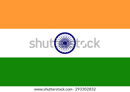 Flag of India. Official state symbol of country. Three bands of colors: saffron, cool grey, india green. The wheel with 24 spokes of Navy blue color in the center. Correct colors and forms. - stock vector