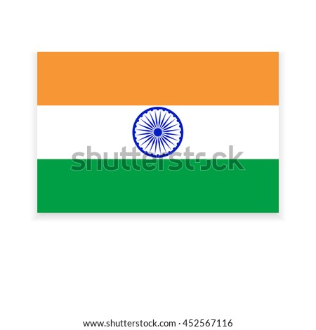 Flag of India on a white background  for Indian Independence Day.