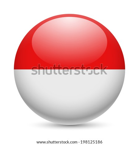 Flag of Indonesia as round glossy icon. Button with Indonesian flag - stock vector