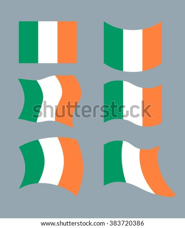 Flag of Ireland. Set flag of Irish State. Developing green, Orange flag. Political sign of ountry