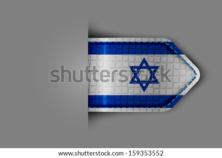 Flag of Israel in the form of a glossy textured label or bookmark. Vector illustration. - stock vector