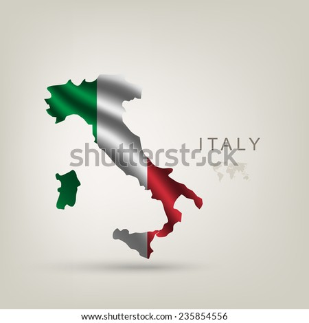 Flag of Italy as a country with a shadow - stock vector