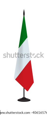 Flag of Italy on a flagstaff. Vector illustration - stock vector