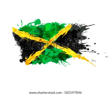Flag of Jamaica made of colorful splashes - stock vector