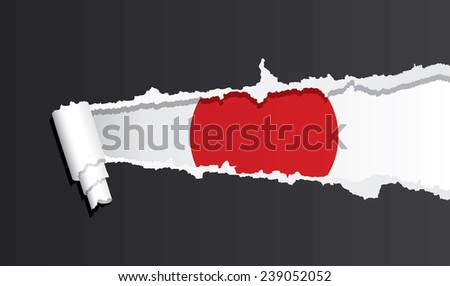 Flag of Japan under ripped paper vector illustration. - stock vector