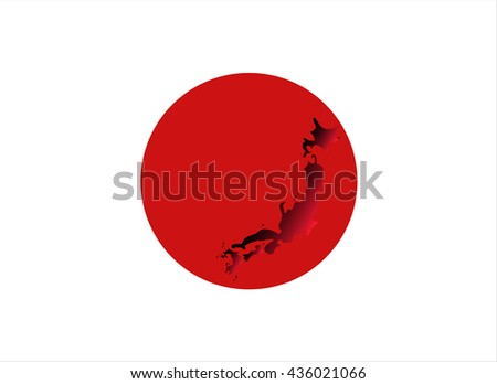 Flag of Japan with graphic map inside - stock vector