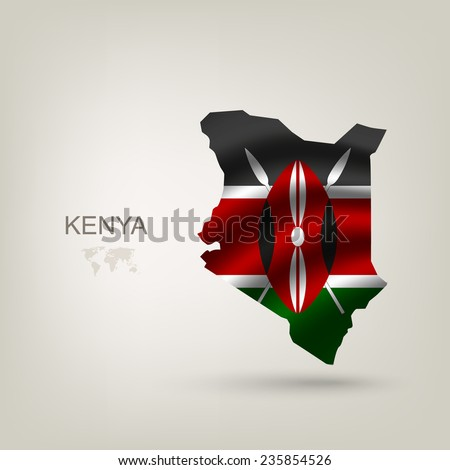 Flag of Kenya as a country with a shadow - stock vector