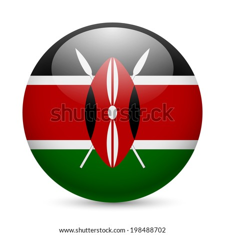 Flag of Kenya as round glossy icon. Button with Kenyan flag - stock vector