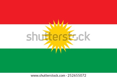 Flag of Kurdistan. Vector illustration. original and simple Kurdistan city flag isolated vector in official colors and Proportion Correctly  - stock vector