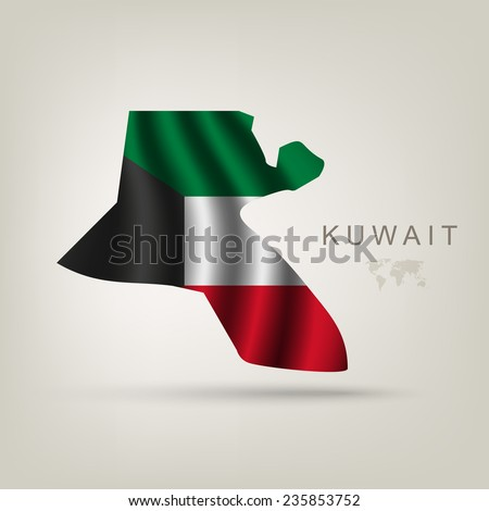 Flag of Kuwait as a country with a shadow - stock vector