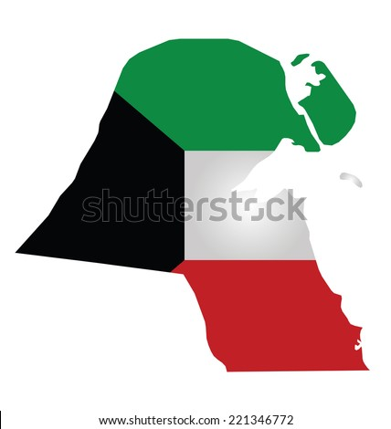 Flag of Kuwait overlaid on outline map isolated on white background  - stock vector
