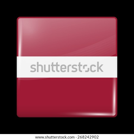 Flag of Latvia. Glossy Icons Square Shape. This is File from the Collection European Flags - stock vector