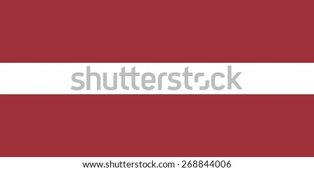 Flag of Latvia. Right sizes, colors and proportions. Official Latvian state symbol. Three stripes - red and white. Sign for the political articles and maps. Vector illustration. - stock vector