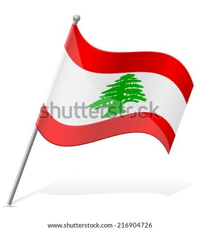 flag of Lebanon vector illustration isolated on white background - stock vector