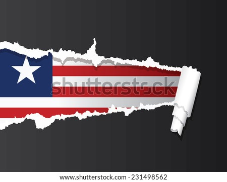 Flag of Liberia under ripped paper vector illustration. - stock vector