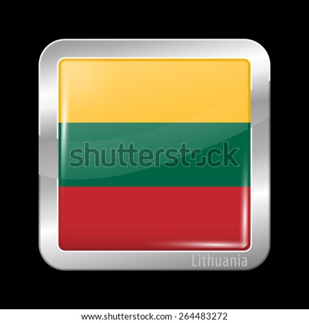 Flag of Lithuania. Metal Icons Square Shape. This is File from the Collection European Flags - stock vector