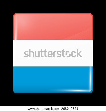 Flag of Luxembourg. Glossy Icons Square Shape. This is File from the Collection European Flags - stock vector