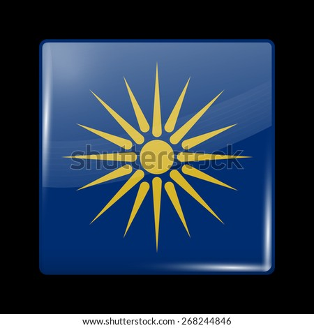 Flag of Macedonia. Glossy Icons Square Shape. This is File from the Collection European Flags - stock vector