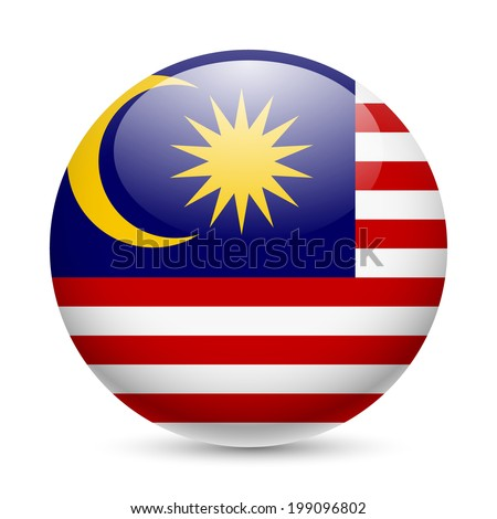 Flag of Malaysia as round glossy icon. Button with Malaysian flag - stock vector