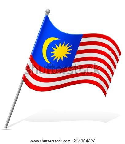 flag of Malaysia vector illustration isolated on white background - stock vector