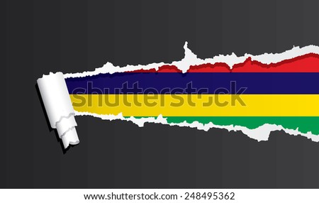 Flag of Mauritius under ripped paper vector illustration. - stock vector