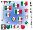flag of mexico vector - stock photo