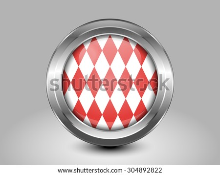 Flag of Monaco. Metal Round Icons. This is File from the Collection European Flags - stock vector