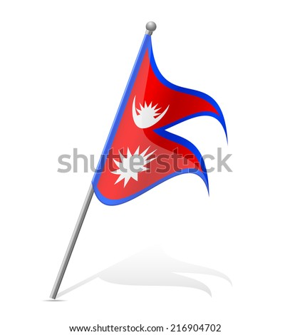 flag of Nepal vector illustration isolated on white background - stock vector
