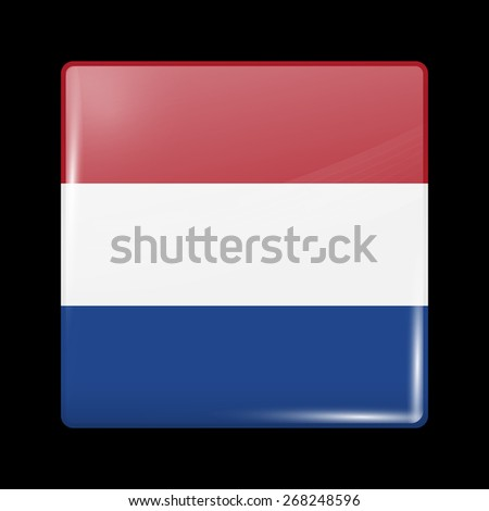 Flag of Netherlands. Glossy Icons Square Shape. This is File from the Collection European Flags - stock vector