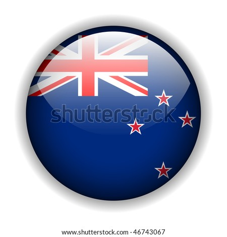 Flag of New Zealand, glossy button, vector - stock vector